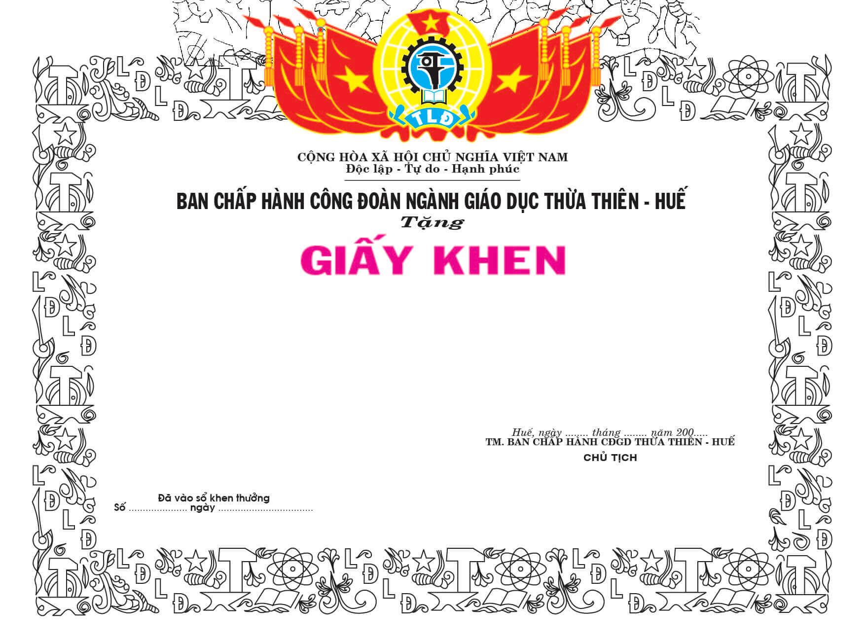Mẫu giấy khen 009 - mẫu giấy khen Công Đoàn - Link Download : https://adsnew.net/J5BlX2F