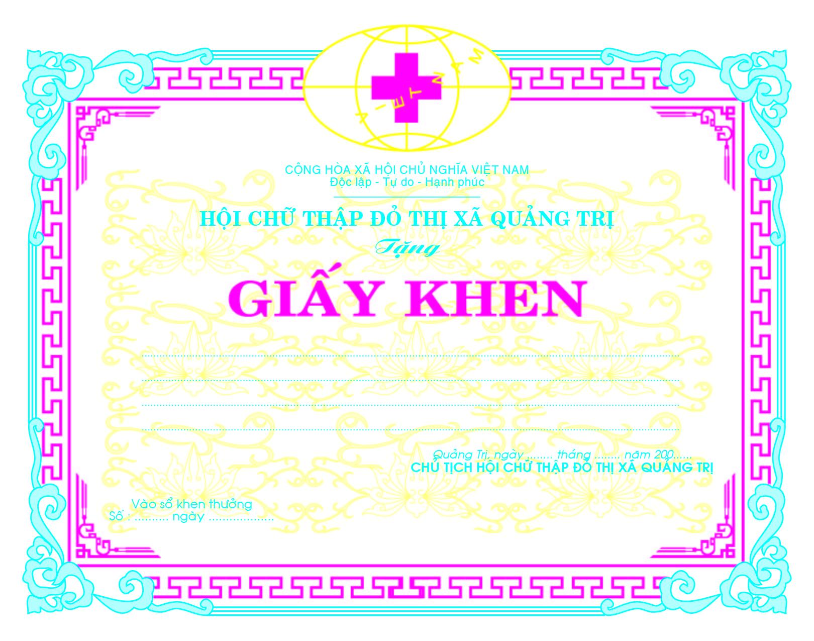 Mẫu giấy khen 013 - mẫu giấy khen Hội Chữ Thập Đỏ - Link Download : https://adsnew.net/5wvDwDCm