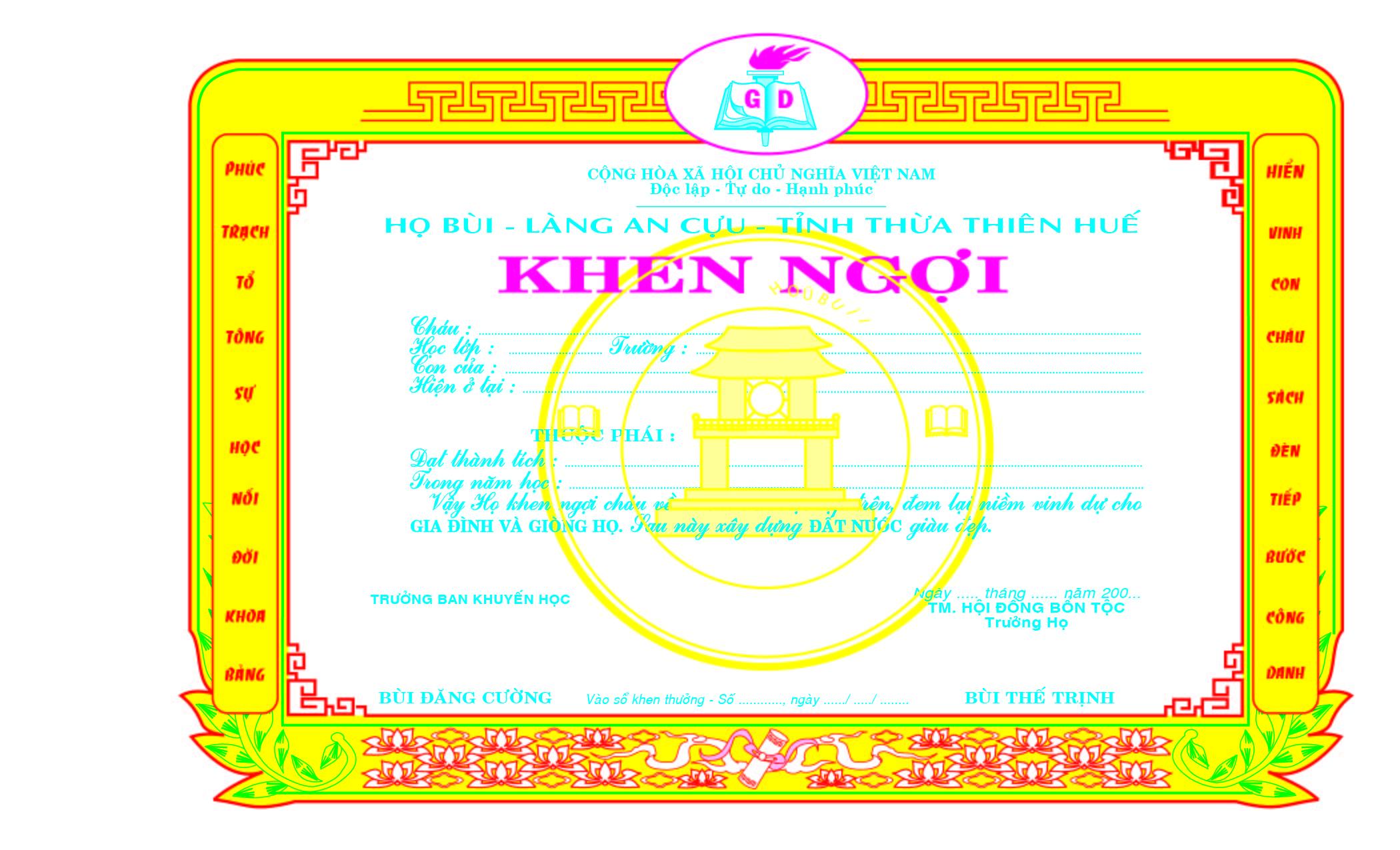 Mẫu giấy khen 029 - Mẫu giấy khen làng an cựu - tỉnh thừa thiên huế - Link download : https://adsnew.net/Yd1P