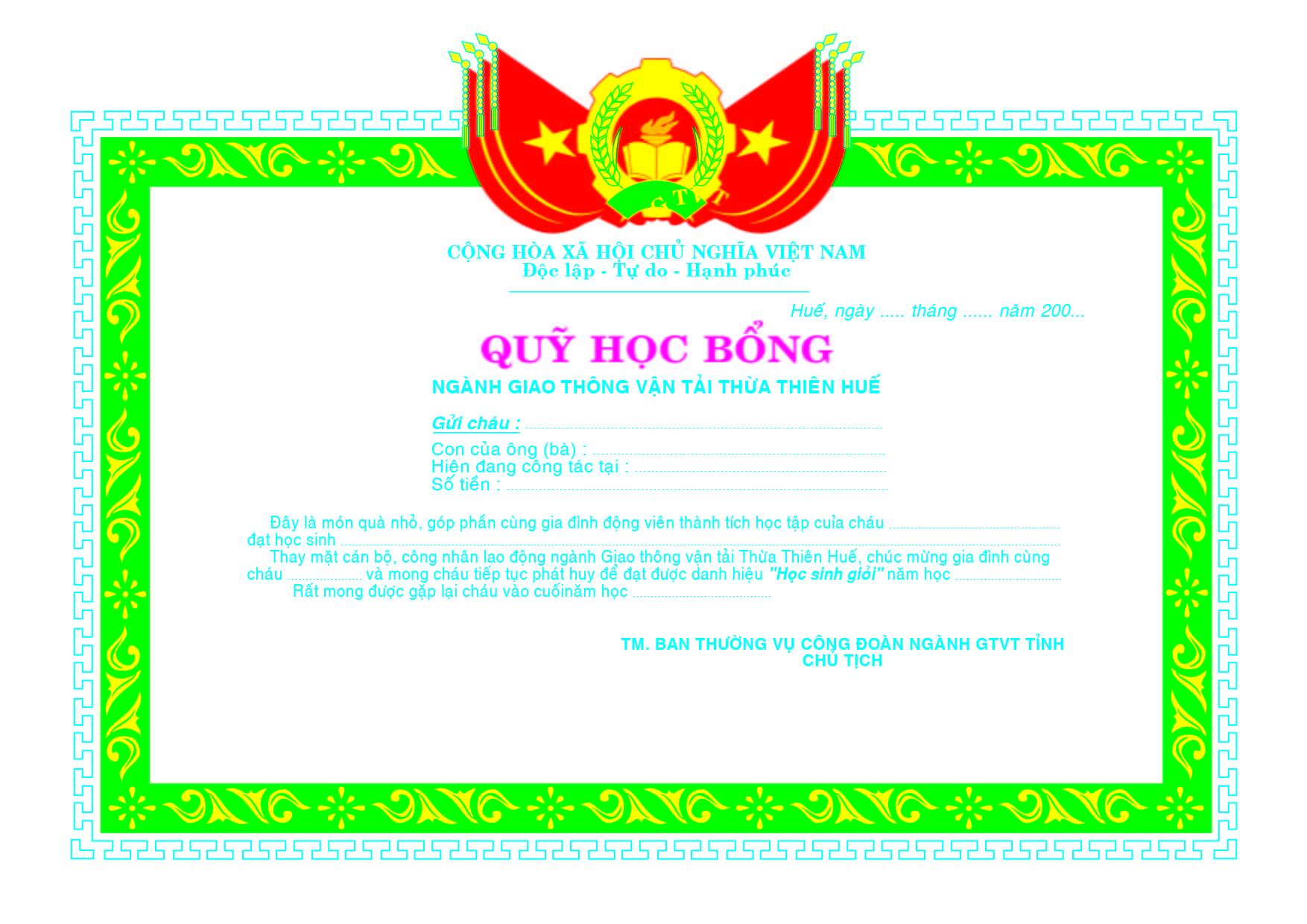 Mẫu giấy khen 031- Mẫu giấy khen quỹ học bổng - link download : https://adsnew.net/QDK6