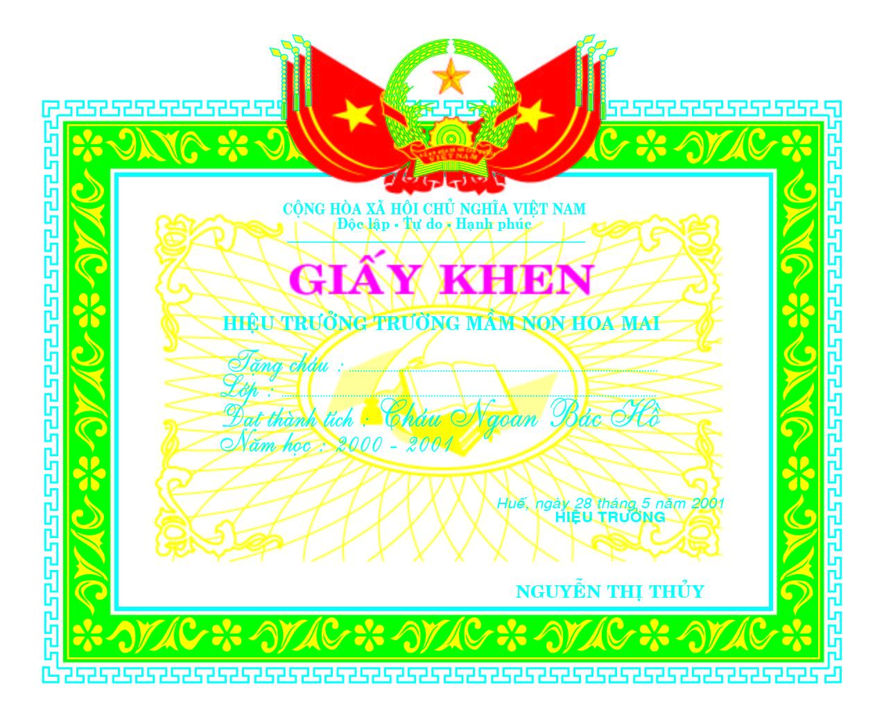 Mẫu giấy khen 036 - Mẫu giấy khen trường mầm non - link download : https://adsnew.net/UyLV