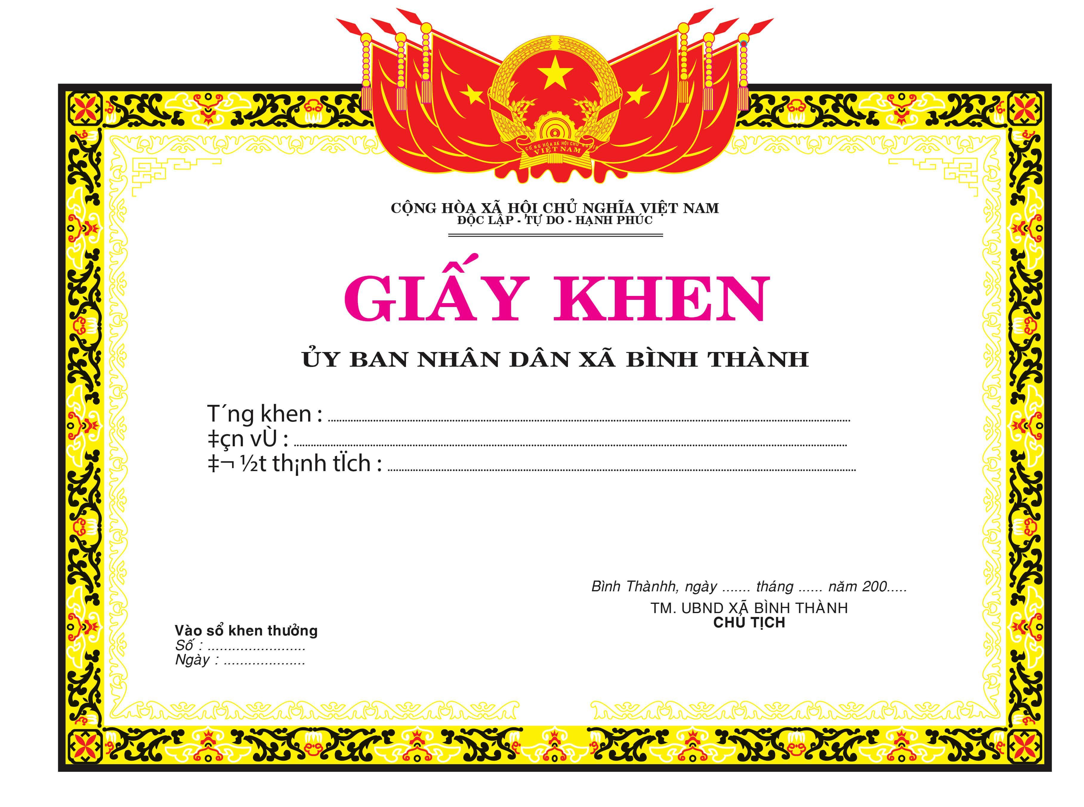 Mẫu giấy khen 053 - Mẫu giấy khen ủy ban nhân dân xã - link download : https://adsnew.net/R7E5S