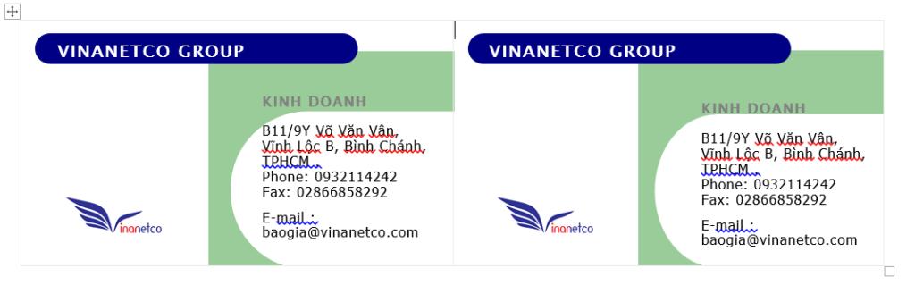 Hướng dẫn Thiết kế Name Card bằng Word - hình số 4